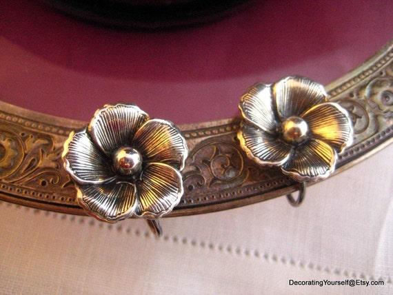 Vintage Sterling Flower Silver Screw On Beau Sterling