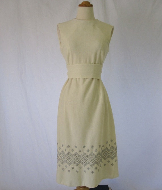 Vintage 60s Dress - Winter White Knit with Silver Embroidery M