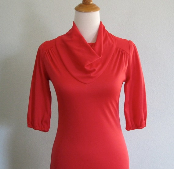 LAST CHANCE CLEARANCE Vintage 70s Dress - Sexy Cherry Red Jersey Shift with Cowl Neck xs s