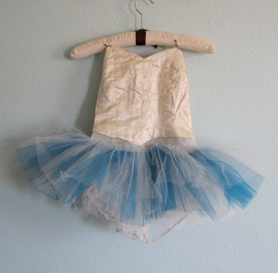 RESERVED Vintage 50s Tutu - Handmade Girl's Ballet Costume in Blue and White RESERVED