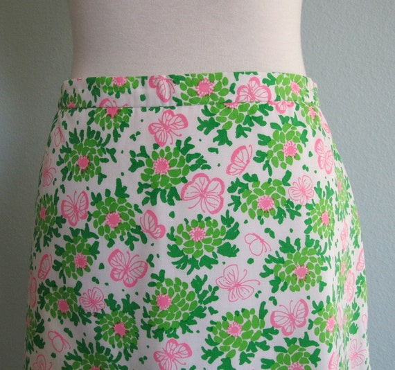 Vintage 60s Skirt - Lilly Pulitzer Pink and Green Floral with Butterflies M