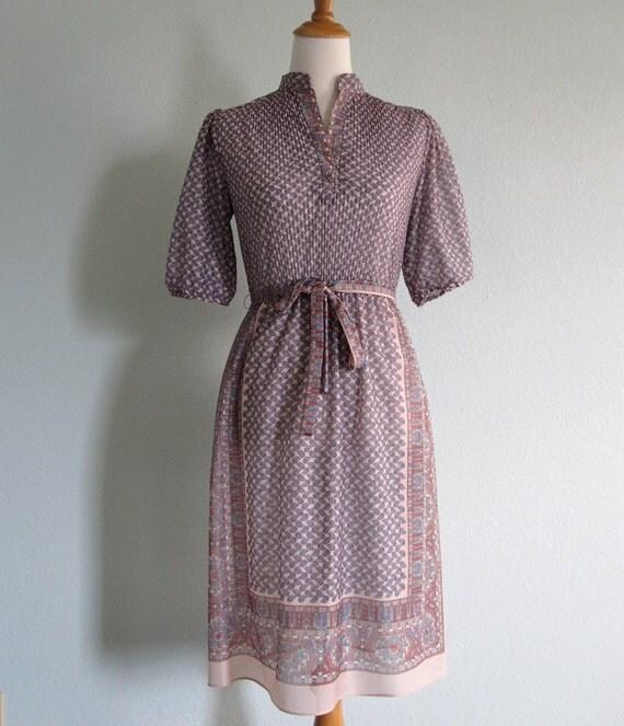 Vintage 70s Dress - Sheer Periwinkle Paisley Boho Dress by Taurus II S M