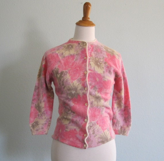 Vintage 50s Cardigan - Pink Floral Angora Sweater by Darlene S M