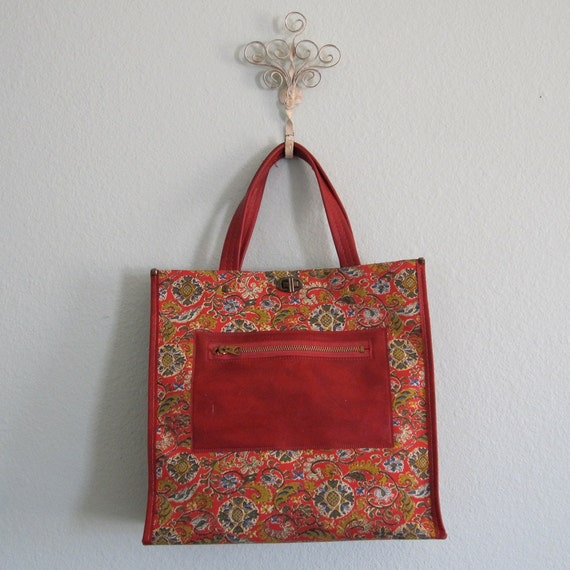 Vintage 50s Handbag - Red Vinyl with Bright Tapestry Tote Style Bag
