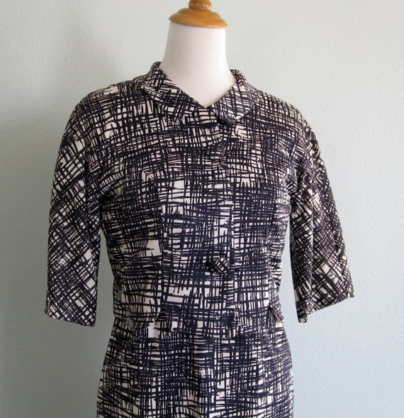Vintage 60s Dress Set - Chic Navy and White Wiggle Dress with Matching Short Jacket M
