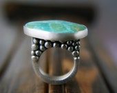Reserved (Balance)- Paradise on a Pedestal  ------ Turquoise Sterling Silver Ring