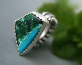 S.A.L.E. 30% off - Upon an Ancient Shore - Chrysocolla and Malachite Sterling Silver Ring