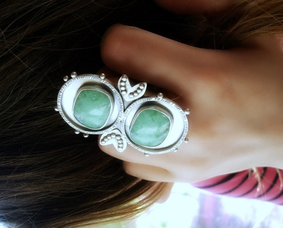 S.A.L.E. 40% Off  -- Binary Brilliance Ring ---------- Chrysoprase Sterling Silver Ring
