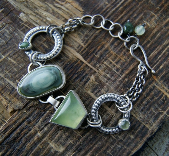 Reserved (Balance) - The Circle of Life - Imperial Jasper and Prehnite Sterling Silver Bracelet