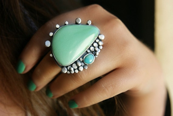 Reserved (Balance) - The Perfect Shore - Variscite and Turquoise Sterling Silver Ring