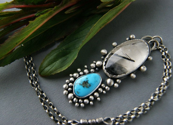 Reserved (Balance) - At the Heart of the Earth - Tourmalated Quartz and Turquoise Sterling Silver Necklace