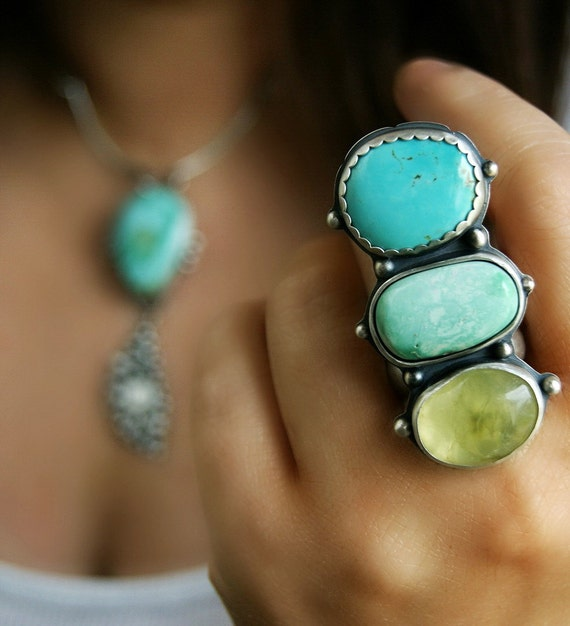 Trinity - Turquoise, Variscite, and Prehnite Sterling Silver Ring