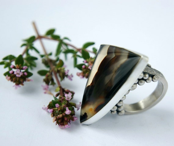 Reserved- By the Tiger Claw  -  Montana Agate Sterling Silver Ring