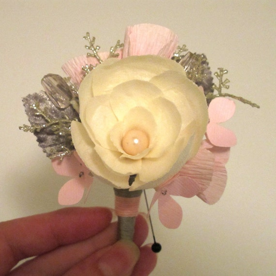 7 Custom Paper Boutonnieres and 3 pin on corsages for Kristen