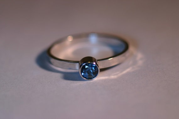 WDW - All Birthstones Available - Silver Ring with 4mm Gemstone - Made to Order