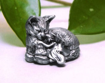 "Tooth Fairy Box - Pewter Cat ""On A Whim"""