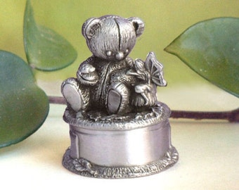 On A Whim Pewter Baby's First Curl Box ...Teddy Bear