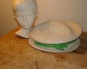 Vintage Mod White Straw Hat