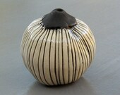 Black and White Striped Ceramic Spore Wall Pod