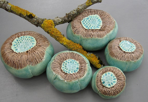 Five Turquoise and Brown Ceramic Sea Anemone Pods with Recycled Glass Wall Art