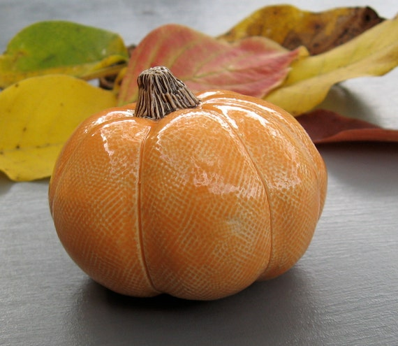 Orange Ceramic Pumpkin Small Fall Table Decoration