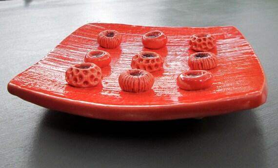 Bright Orange Ceramic Soap Dish with Spore Pod Soap Holders
