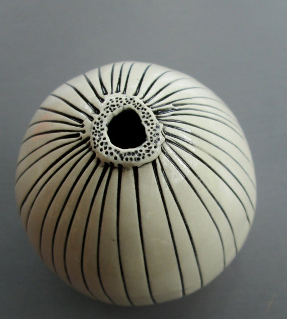 Small Black and White Striped Ceramic Pod Vase