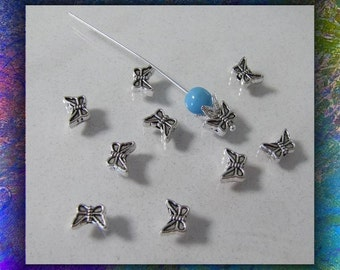Butterfly  Charms, Components,  50 piece Charms, Earring Charms, Antique Silver Charms, Accent Beads, Design both sides , Lead Safe, #780