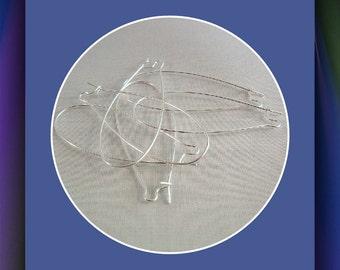 Kidney Earwires, Jumbo Earwires,  Silver plated,  Interchangeable  earwires, 10 pair earwires, Item #571