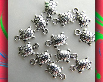 Turtle Charms ,12 pieces,  Jewelry Charms, Bracelet Charms, Earring Charms, Tibetan Cast,  Tibetan Silver Charms Item #660