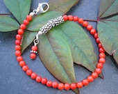 Red Head - Red Coral, Bali Silver and Sterling Silver Bracelet