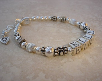 Mother's Name Bracelet - Single Strand - Bali Silver, Hill Tribe and Sterling Silver