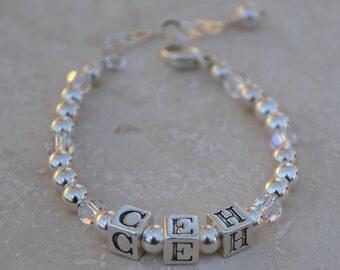 Baby Bracelet - Initials - Alphabet Block Letters - Sterling Silver