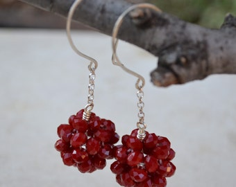Red Velvet Ear Bobs - Crystal Rondelles and Handmade Sterling Silver Earwires - Bon Bon Earrings - Red Velvet Handmade by SplendorVendor