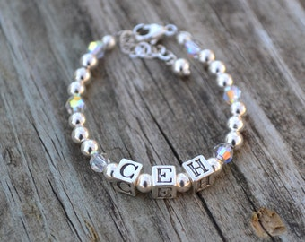 Baby Initials Bracelet - Personalized - Sterling Silver Block Letters, Sterling Silver Beads & Swarovski Crystals Accents
