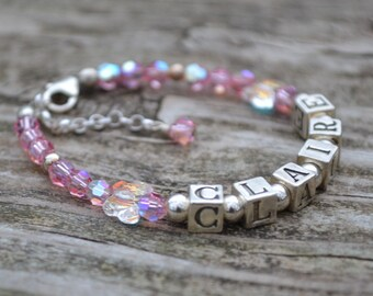 Butterfly Baby Name Bracelet - Personalized - Swarovski Crystals  with Sterling Silver Alphabet Block Letters and accents