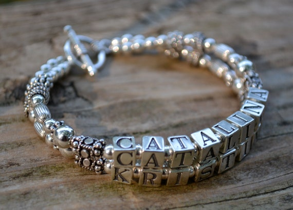 Mother's Name Bracelet - Two Strands - Bali Silver, Hill Tribe and Sterling Silver