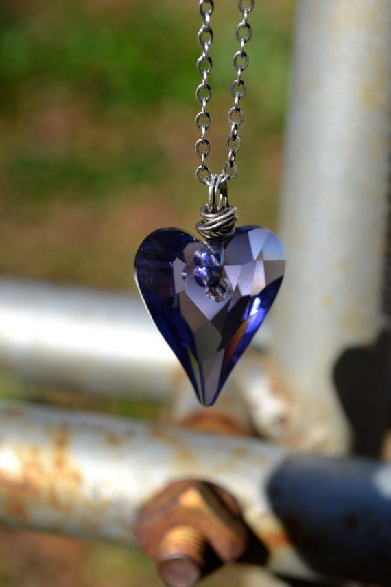 Valentine Necklace - Purple Swarovski Crystal Wild Heart Pendant with Oxidized Sterling Silver Chain - Large 27mm pendant - Sweet On You