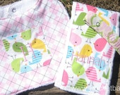 Baby Gift Set of 3 -  1 Personalized Bib with Pocket 1 Personalized Burp Cloth and 1 Personalized Pacifier Clip -  Baby shower gift