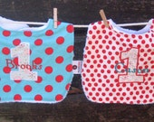 Set of 2 PERSONALIZED Baby Bibs - 1st Birthday Bibs - Smash Cake Baby Bibs - You Choose Your Fabric