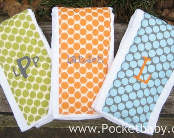 PERSONALIZED Burp Cloths Set of 3 - You Choose Your Fabric - Great Baby Gift - Baby Shower