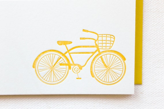 Bicycle Letterpress Cards. Set of 6
