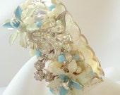 Something Blue Assemblage Bracelet Vintage Jewels for Your Vintage Inspired Wedding, Gift Idea for Her