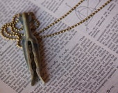 Blue-Green Clothespin Necklace