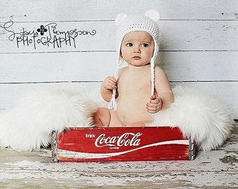 Baby Polar Bear Earflap Beanie - newborn to 6 mo sizes - made to order