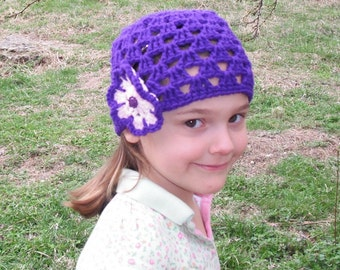Spring Happy Hat  with Flower - available in Toddler and Child or Sm Adult size
