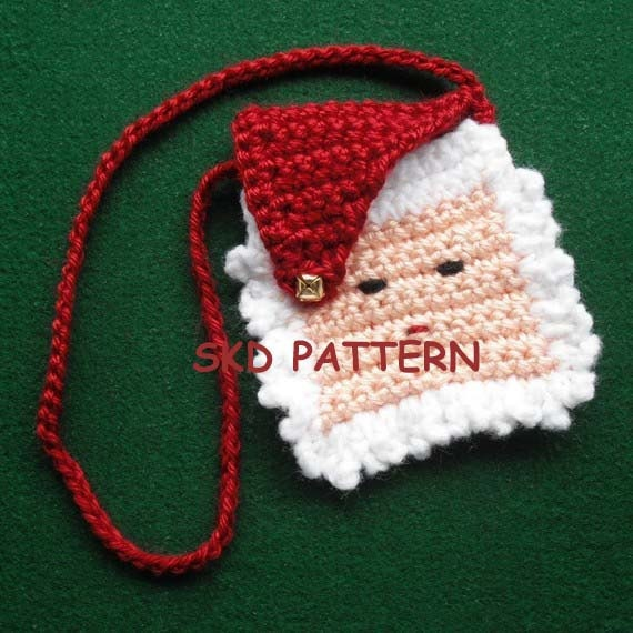 Mini Crochet Bag : Mini Santa Purse Necklace or Gift Bag Crochet by crochetmyway