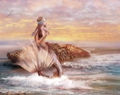 Sunbathing and She Tells a Tale of the Sea, Set of 2 Large Art Prints Mermaid Illustrations