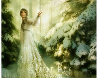 Fairy tale Queen of Fairies Fantasy Illustration //  'Winterspell' 8 x 10 inch SALE