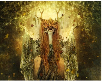 CLEARANCE SALE Forest Spirit, Art Print undersize 8 x 10 inch Dryad Fantasy Illustration